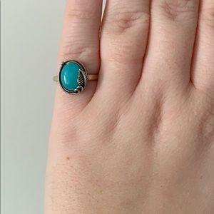 Amazonite Silver Sterling Ring with Leaf